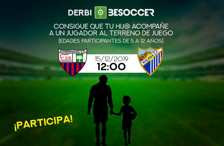 Consigue que tu hijo acompañe a un jugador en el Extremadura-Málaga. BeSoccer