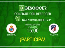 Consigue una entrada doble VIP para el Espanyol-Atlético. BeSoccer
