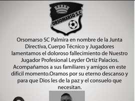 El joven futbolista fue asesinado de una puñalada. Orsomarso