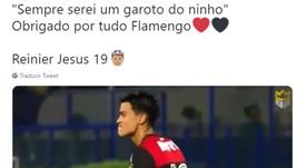 Reinier promete levar sempre o Flamengo no coração. Twitter/ReinierJesus_19