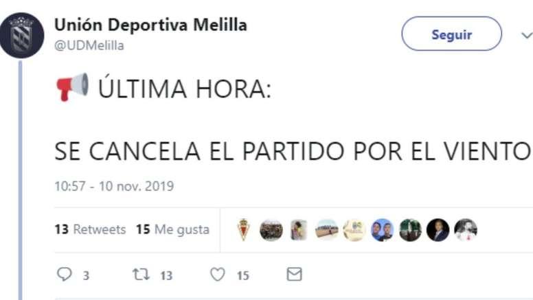 El Melilla anunció así la suspensión del partido. Twitter/UDMelilla
