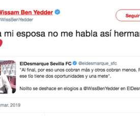 Ben Yedder enjoyed Nolito's warm words. Twitter/WissBenYedder