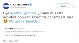 En el Fuenlabrada le han pasado la pelota al Atleti y al propio Torres. Twitter/CFuenlabradaSAD