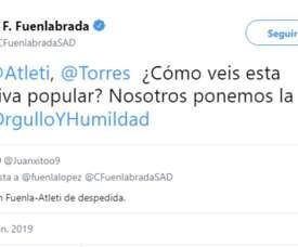 Un Fuenlabrada-Atleti pour les adieux à Torres. Twitter/CFuelanbradaSAD
