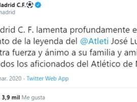 El Real Madrid recordó a Capón y lamentó su muerte. Twitter/RealMadrid