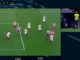 There were two VAR penalties in the first half of Atletico v Sevilla. Captura/MovistarFutbol