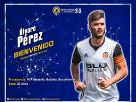 El Hércules anunció este martes su fichaje Álvaro Pérez. Twitter/cfhercules