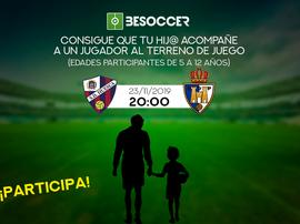 Consigue que tu hijo acompañe a un jugador en el Huesca-Ponferradina. BeSoccer