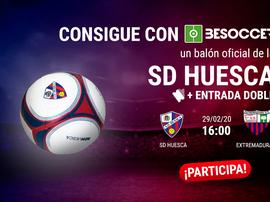 Consigue un balón del Huesca y una entrada para el duelo ante el Extremadura. BeSoccer