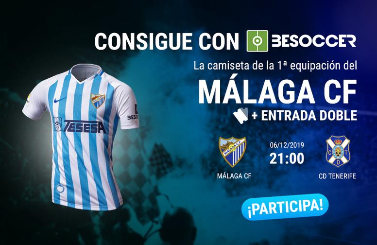 Consigue una camiseta del Málaga y una entrada doble para el partido ante el Tenerife. BeSoccer
