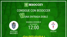 Consigue una entrada doble para el Atlético Baleares-Celta B. BeSoccer