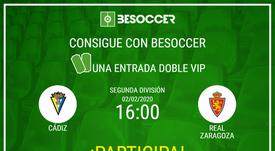 Consigue una entrada doble VIP para el Cádiz-Real Zaragoza. BeSoccer