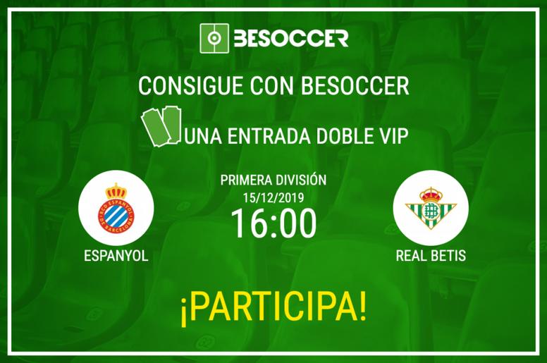 Consigue una entrada doble VIP para el Espanyol-Real Betis. BeSoccer