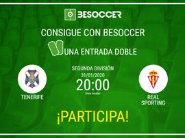 Consigue una entrada doble para el Tenerife-Sporting. BeSoccer