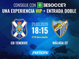 Consigue una experiencia VIP y una entrada doble para el Tenerife-Málaga. BeSoccer