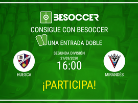 Consigue una entrada doble para el Huesca-Mirandés. BeSoccer