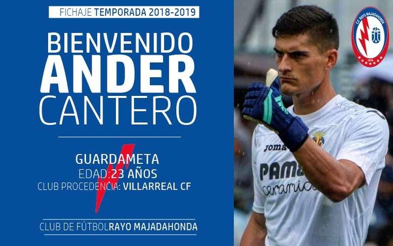 El guardameta procede del Villarreal. Twitter/RMajadahonda