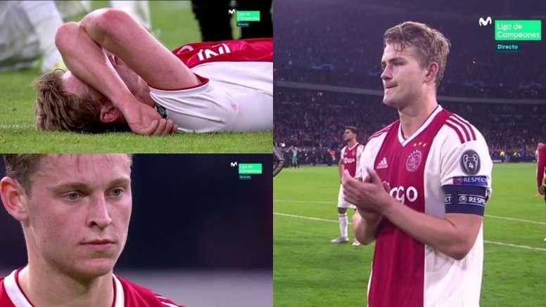 Les larmes des deux joueurs de l'Ajax. Capture/Movistar