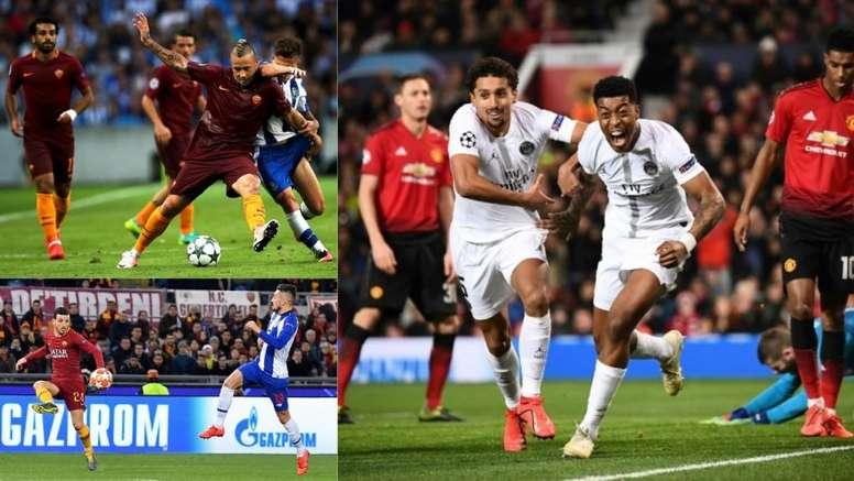 ¿Cómo quedaron los PSG-United y Oporto-Roma anteriores? AFP/EFE/BeSoccer
