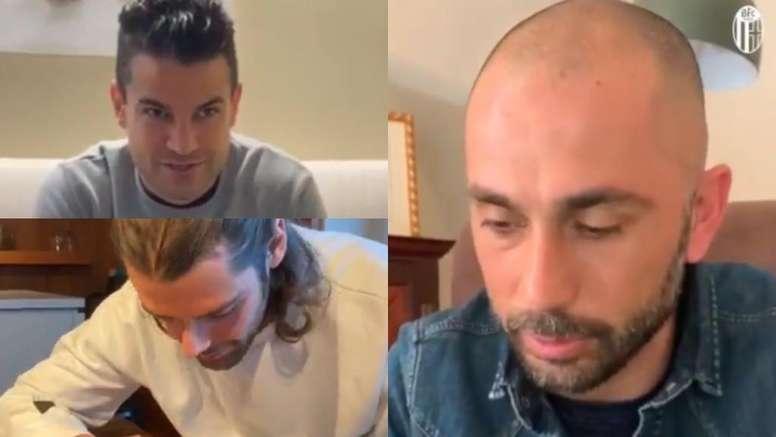 Algunos miembros del Bologna llamaron a los aficionados que viven solos. Twitter/BfcOfficialPage