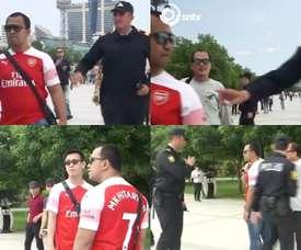 La Policía retiene en Bakú a aficionados con la camiseta de Mkhitaryan. Capturas/SNTV
