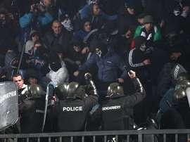 Imágenes de la policía durante el Levski-Litex. Twitter