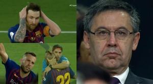 Barcelona faces after the Copa del Rey defeat. Screenshot/TVE