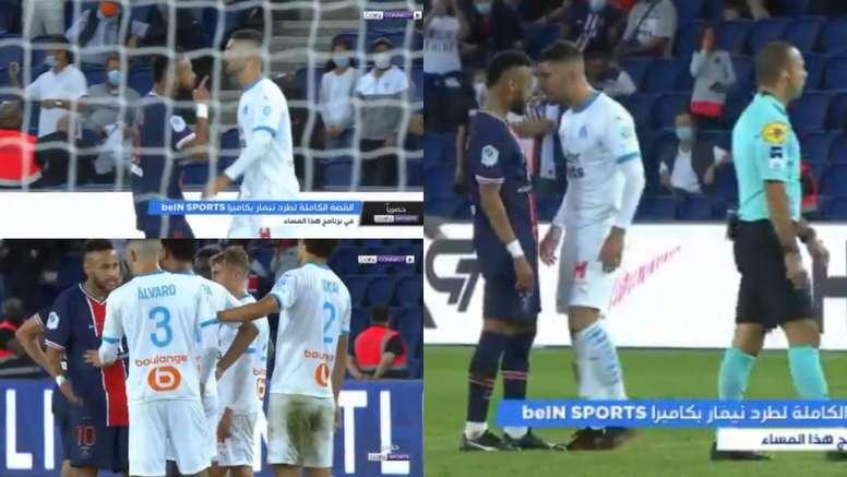 Nouvelles images de l'altercation entre Neymar et Alvaro. Capture/BeIN