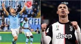 Immobile e Cristiano Ronaldo, dois dos artilheiros da Serie A. Montagem AFP