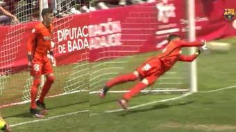 Inaki Pena had a superb game for Barca B. Screenshot/BarcaTV