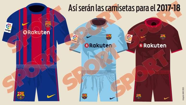 Pin Infografía de Sport con las posibles camisetas del Barcelona para la  2017-18. Sport e096ddbf4f0
