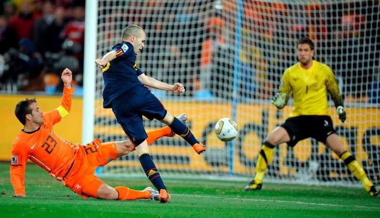 Iniesta revient au stade où l'Espagne s'est proclamée Championne du monde. AFP