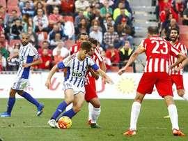 Instantánea del partido entre el Almería y la Ponferradina. Twitter
