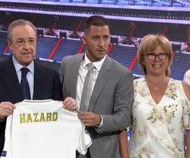 Eden Hazard foi apresentado como jogador do Real Madrid. Captura/RealMadridTV