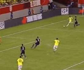 Bacca anotó en el 56' para igualar el partido tras la reacción estadounidense. Captura