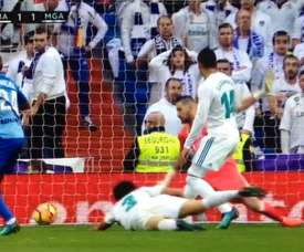 Rolan scores the equaliser against Real Madrid. Movistar