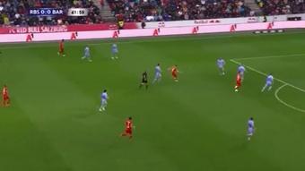 Cornada en Salzburgo a un Barça sin ritmo ni defensa. Captura/BarçaTV
