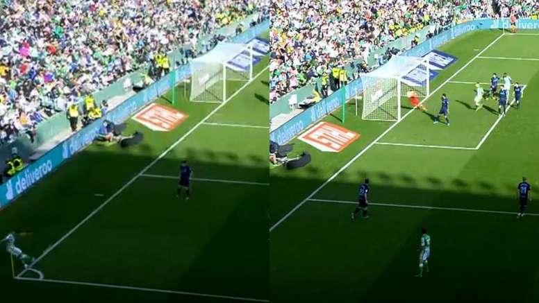 Joaquín casi mete un gol olímpico. Capturas/Movistar