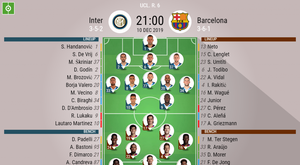 Inter v Barcelona. Champions League 2019/20. Matchday 6, 10/12/2019-official line.ups. BESOCCER