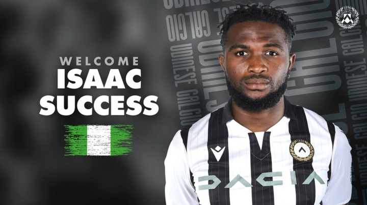 Isaac Success, nuevo jugador del Udinese. Twitter/Udinese_1896