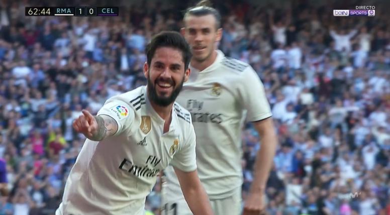 Isco hizo el primer gol en la vuelta de Zidane. Captura/BeINSports