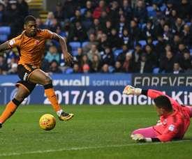 O momento do golo que abriu o ativo no embate entre Reading e 'wolves'. Wolves
