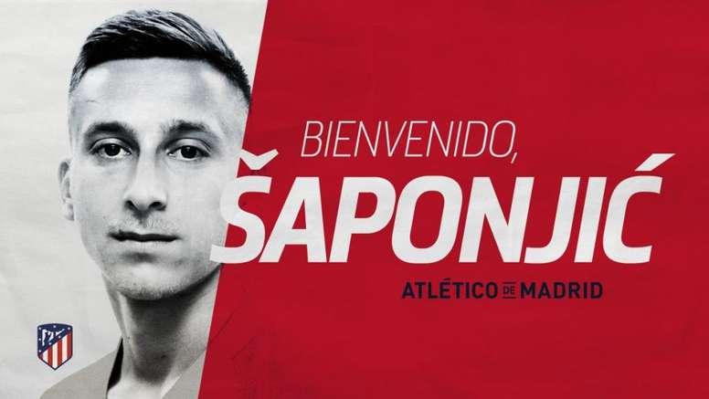 El Atlético confirma el fichaje de Saponjic. AtléticoDeMadrid