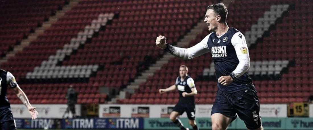 Jake Cooper fue el goleador. Twitter/MillwallFC