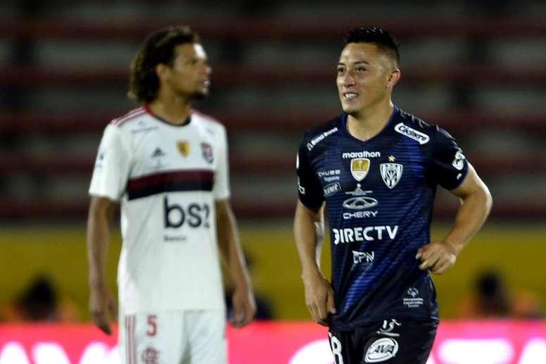 Jacob Murillo marcou o gol do Independiente del Valle contra o Flamengo. Twitter @RecopaConmebol