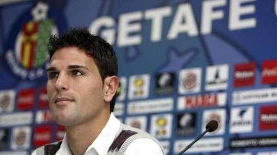 Jaime Gavilán, en rueda de prensa cuando formaba parte del Getafe. Twitter