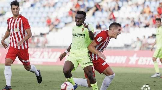 El nigeriano se retiró al descanso en Almería. LaLiga