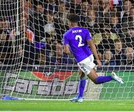 Justin marcó uno de los tantos del Leicester. Twitter/Carabao_Cup