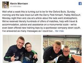 El futbolista disputó un encuentro amistoso con niños con Síndrome de Down. Morrison