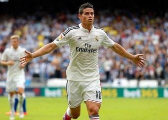 James Rodríguez celebra un tanto con el Real Madrid. Twitter